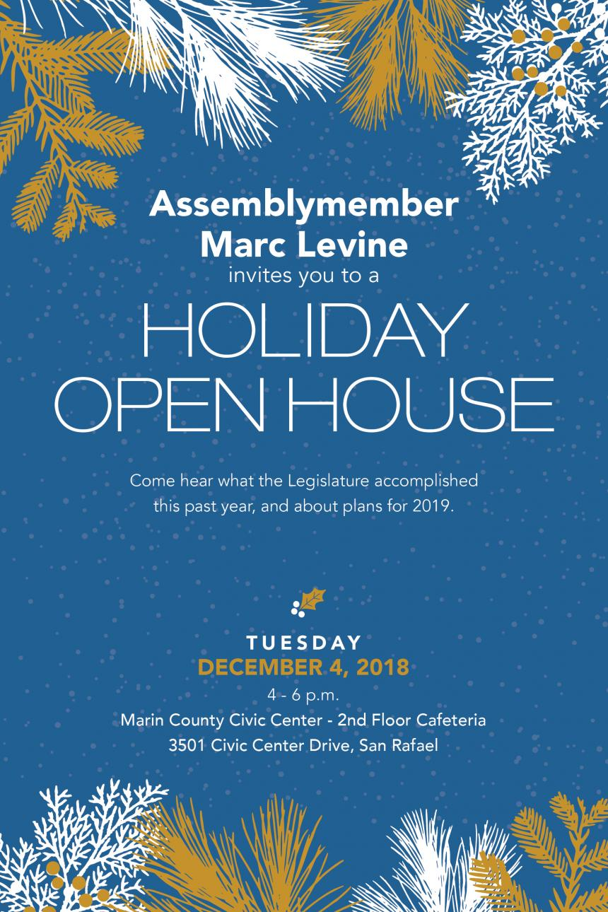Assemblymember Levine Holiday Open House flyer graphic