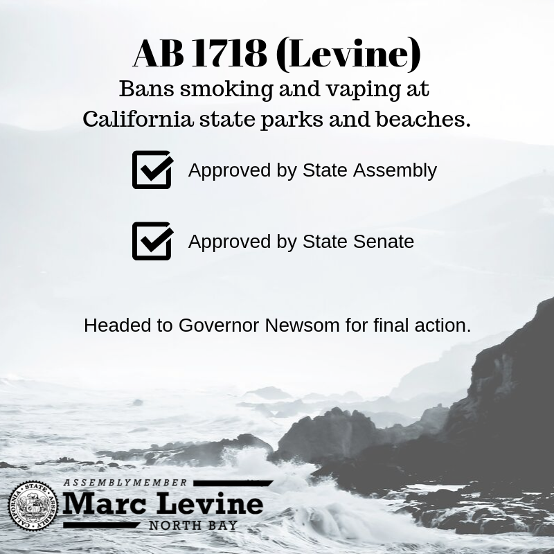 Levine Measure to Ban Smoking and Vaping at State Parks and Beaches Approved by State Legislature
