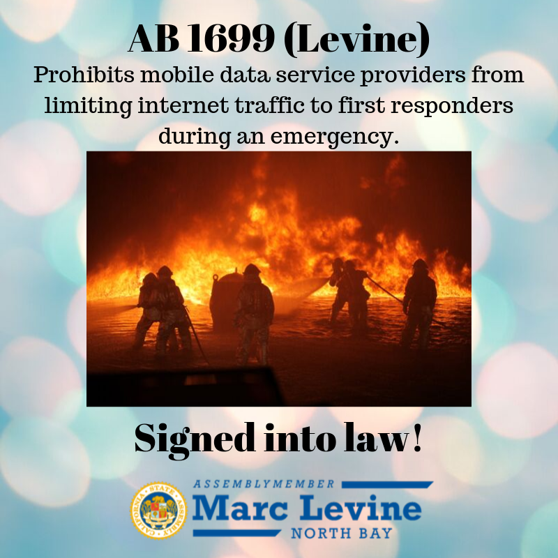 Levine Measure to Prevent Data Throttling of First Responders Signed into Law