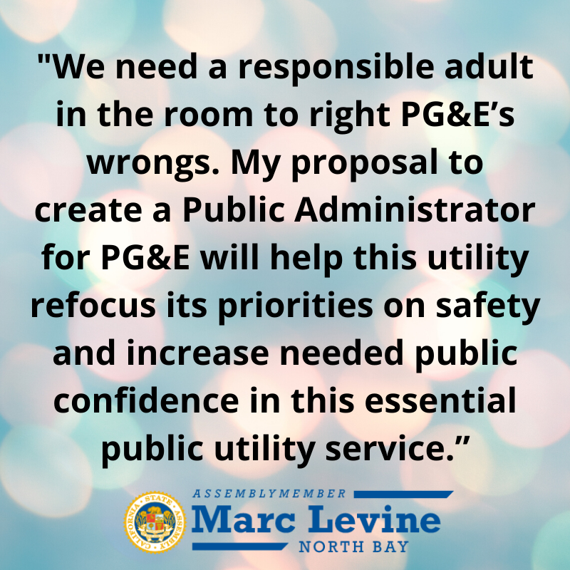 Levine Calls for Creation of Public Administrator for PG&E