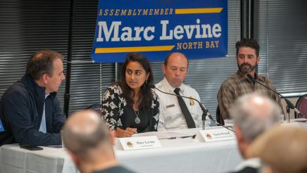 Asm Levine, Geeta Persad, Jason Weber, & Jared Childress discussing Climate Change in Marin